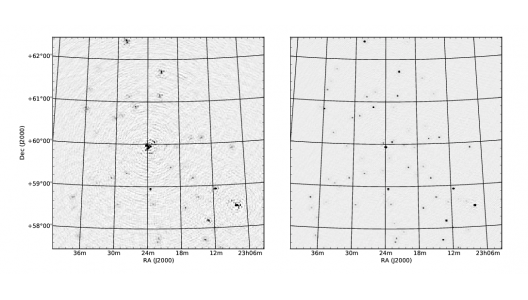 A radio signal (simulation) without ionospheric correction on the left, and with ionospheric correction on the right. Image credit: Sebastiaan van der Tol (ASTRON).